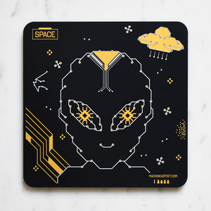 PCB Coaster Alien & Spaceship