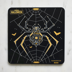 PCB Coaster Spider & Skeleton