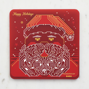 PCB Coaster Santa & Christmas Stocking