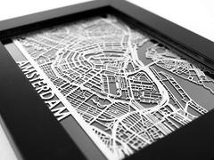 "Amsterdam- Stainless Steel Map - 5""x7"""