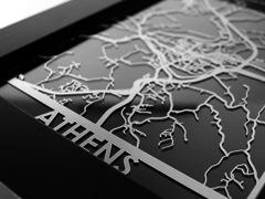 "Athens - Stainless Steel Map - 5""x7"""