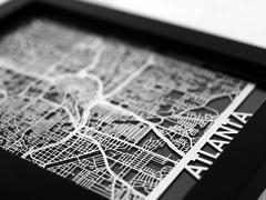 "Atlanta - Stainless Steel Map - 5""x7"""