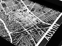 "Austin - Stainless Steel Map - 5""x7"""