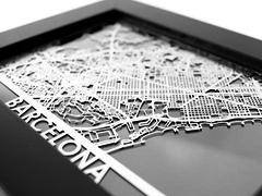 "Barcelona - Stainless Steel Map - 5""x7"""
