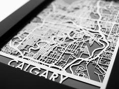 "Calgary - Stainless Steel Map - 5""x7"""