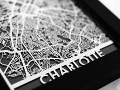 "Charlotte - Stainless Steel Map - 5""x7"""