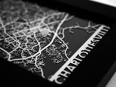 "Charlottesville - Stainless Steel Map - 5""x7"""