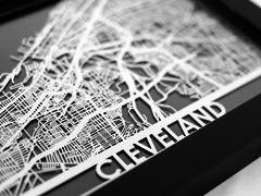 "Cleveland - Stainless Steel Map - 5""x7"""