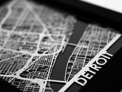 "Detroit - Stainless Steel Map - 5""x7"""
