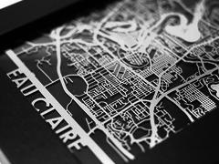 "Eau Claire - Stainless Steel Map - 5""x7"""