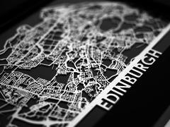 "Edinburgh - Stainless Steel Map - 5""x7"""