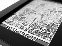 "Edmonton - Stainless Steel Map - 5""x7"""