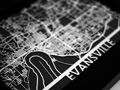 "Evansville - Stainless Steel Map - 5""x7"""