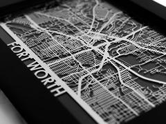 "Fort Worth - Stainless Steel Map - 5""x7"""