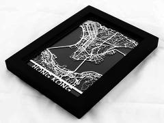 "Hong Kong - Stainless Steel Map - 5""x7"""