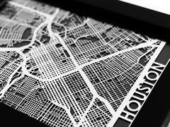 "Houston - Stainless Steel Map - 5""x7"""