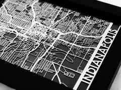 "Indianapolis - Stainless Steel Map - 5""x7"""