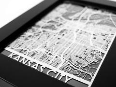 "Kansas City - Stainless Steel Map - 5""x7"""