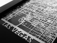 "Las Vegas - Stainless Steel Map - 5""x7"""