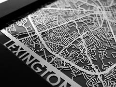 "Lexington - Stainless Steel Map - 5""x7"""