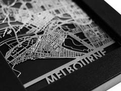 "Melbourne - Stainless Steel Map - 5""x7"""