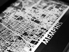 "Memphis - Stainless Steel Map - 5""x7"""