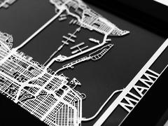 "Miami - Stainless Steel Map - 5""x7"""