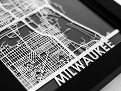 "Milwaukee - Stainless Steel Map - 5""x7"""