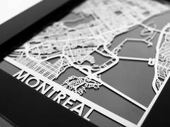 "Montreal - Stainless Steel Map - 5""x7"""