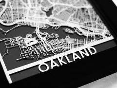 "Oakland - Stainless Steel Map - 5""x7"""