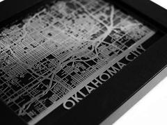 "Oklahoma City - Stainless Steel Map - 5""x7"""
