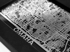 "Omaha - Stainless Steel Map - 5""x7"""