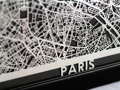 "Paris - Stainless Steel Map - 5""x7"""
