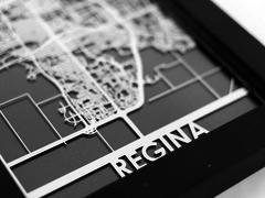 "Regina - Stainless Steel Map - 5""x7"""