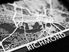 "Richmond - Stainless Steel Map - 5""x7"""