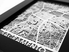 "Sacramento - Stainless Steel Map - 5""x7"""