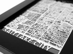 "Salt Lake City - Stainless Steel Map - 5""x7"""