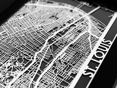 "St. Louis - Stainless Steel Map - 5""x7"""