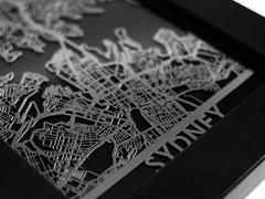 "Sydney - Stainless Steel Map - 5""x7"""