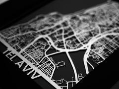 "Tel Aviv - Stainless Steel Map - 5""x7"""