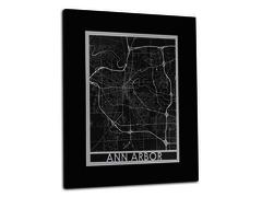"Ann Arbor - Stainless Steel Map - 11""x14"""