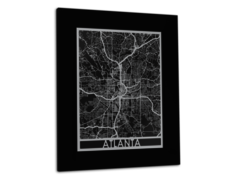 "Atlanta - Stainless Steel Map - 11""x14"""