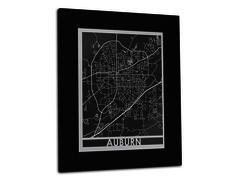 "Auburn - Stainless Steel Map - 11""x14"""