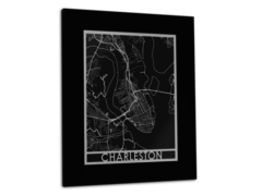 "Charleston - Stainless Steel Map - 11""x14"""