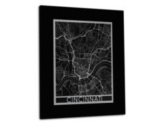 "Cincinnati - Stainless Steel Map - 11""x14"""