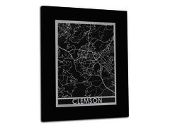 "Clemson - Stainless Steel Map - 11""x14"""