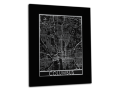 "Columbus - Stainless Steel Map - 11""x14"""
