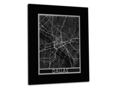 "Dallas - Stainless Steel Map - 11""x14"""