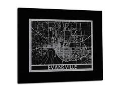 "Evansville - Stainless Steel Map - 11""x14"""