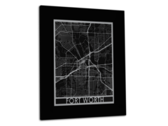 "Fort Worth - Stainless Steel Map - 11""x14"""